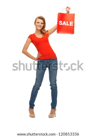 picture of teenage girl in red t-shirt with shopping bag - stock photo