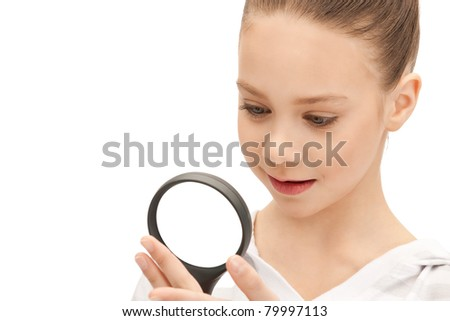 picture of teenage girl with magnifying glass