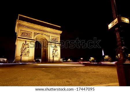Picture of the Arch of Triumph in Paris France - stock photo