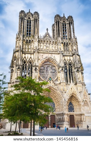 Picture of the cathedral Notre Dame in the town Reims in France. - stock photo