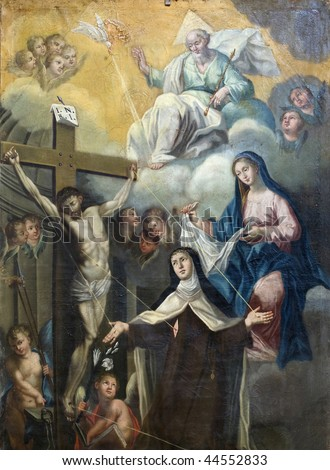 Picture of the Crucifixion, with God, the Madonna, angels and Saints, Italy eighteenth century - stock photo