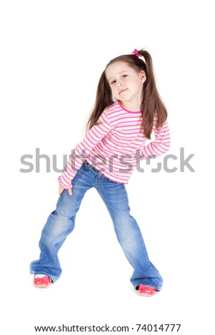 Picture of the funny little girl in blue jeans - stock photo