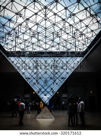 Picture of the inferior pyramid of the Louvre Palace in Paris, France - stock photo