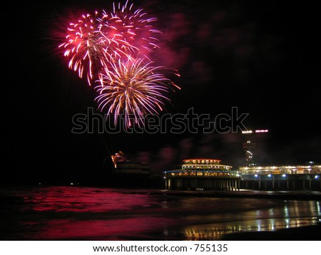 Picture of the international fireworks festival in Scheveningen, the Netherlands, 2004 - stock photo