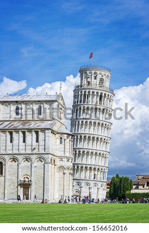 Picture of the Leaning Tower of Pisa at the Miracles place in Italy, Europe - stock photo