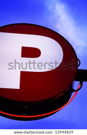 picture of the neon parking sign - stock photo
