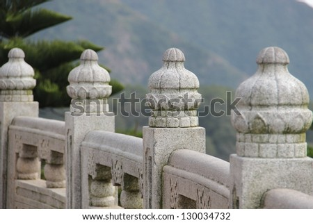 Picture of the part of the Chinese traditional carving marble fence of the Temple big Buddha. Hong Kong - stock photo