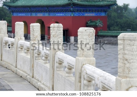 Picture of the part of the Chinese traditional carving marble fence of the Temple of Heaven in beijing,China. - stock photo