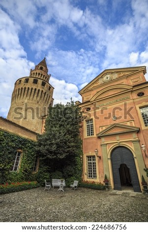 Picture of the tower and facade of Rivalta Castle, in Piacenza, Italy