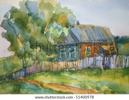picture of the village house, made watercolors paints