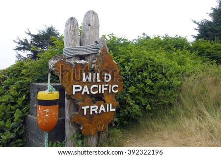 Picture of the Wild Pacific Trail signpost near Ucluelet,BC,Canada.