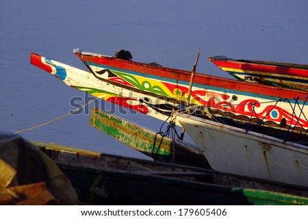 Picture of traditional boats captured in Senegal - stock photo