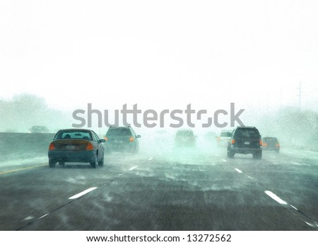 Picture of traffic on the freeway during a snow storm