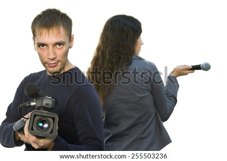 Picture of TV reporter and teleoperator (focus on face) - stock photo