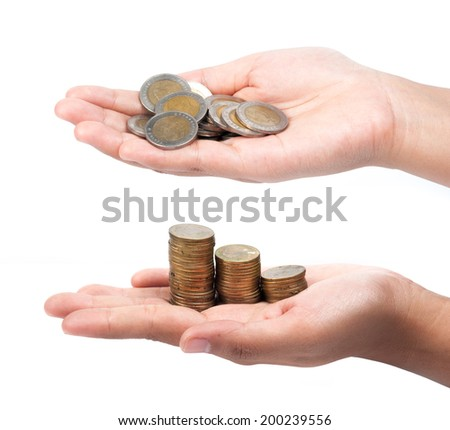 picture of two hands full of coins over white background
