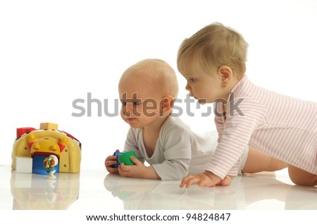 Picture of two little girls playing together - stock photo