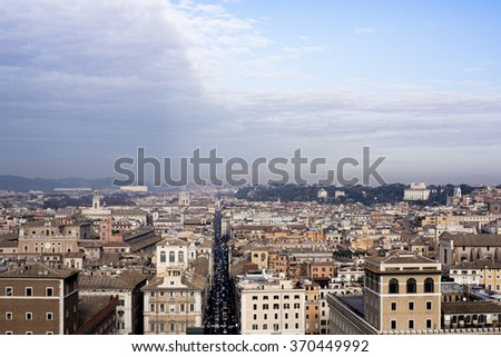 Picture of Via del Corso from above, the famous street of Rome. - stock photo