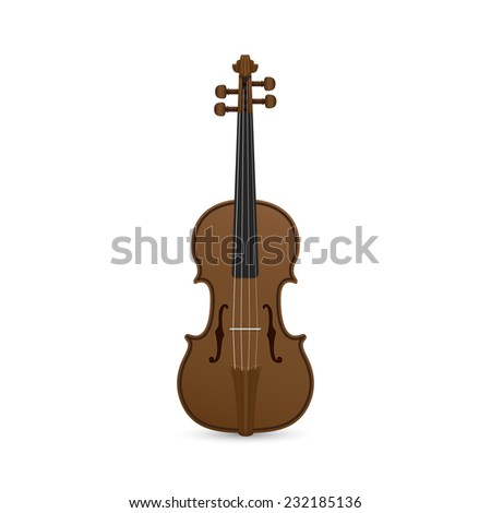 picture of violin isolated on white background - stock photo