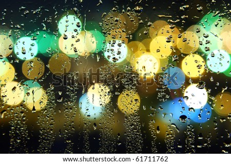 Picture of water drops on window - stock photo