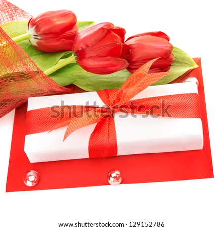 Picture of white gift box with red ribbon, fresh tulips flower bouquet, paper card, greeting postcard, isolated on white background, happy mothers day, romantic still life, love concept - stock photo