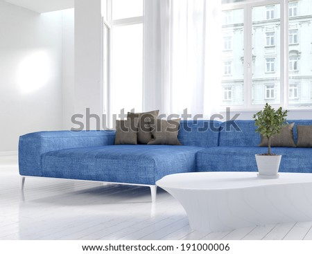 Picture of white living room interior with blue couch - stock photo