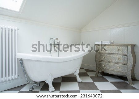 Picture of white luxury bathtub in the new bathroom - stock photo
