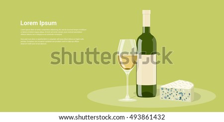 picture of wine bottle, wine glass and cheese, flat style illustration