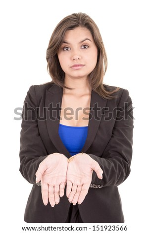 picture of woman holding something on the palms - stock photo