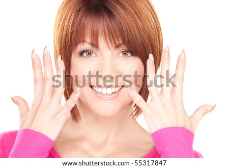 picture of woman showing hands with polished nails - stock photo