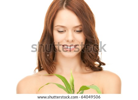 picture of woman with sprout over white