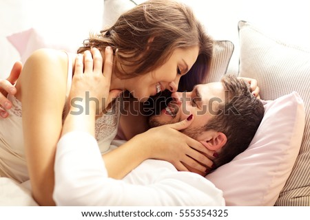 Picture Young Couple Kissing Bed Stock Photo (Royalty Free) 555354325    Shutterstock