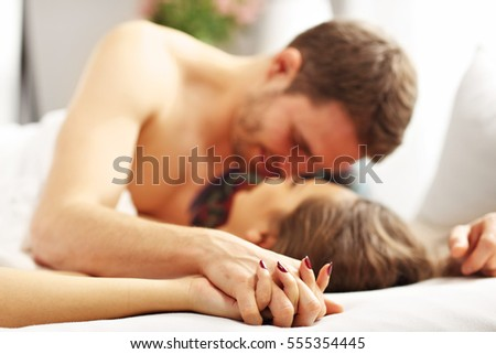 Picture Young Couple Kissing Bed Stock Photo (Royalty Free) 555354445    Shutterstock