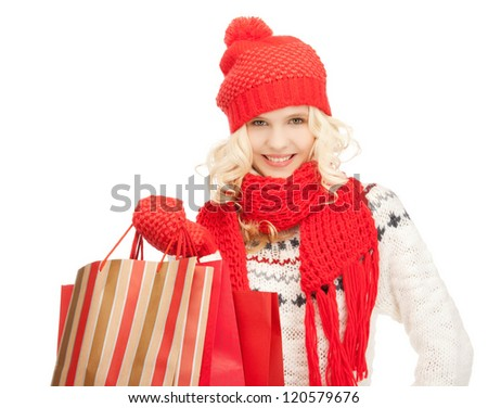picture of  young girl with shopping bags.. - stock photo