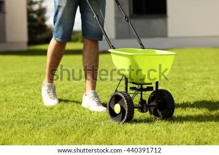 Picture of young man seeding grass in the backyard - stock photo