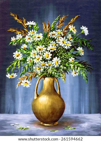 Picture Oil Painting on a Canvas, a Bouquet of Camomiles in a Clay Vase - stock photo