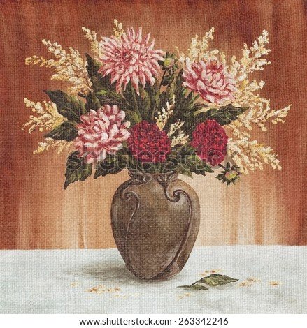 Picture Oil Painting on a Canvas, a Bouquet of Flowers Dahlias in a Ceramic Vase - stock photo