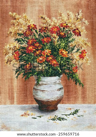 Picture Oil Painting on a Canvas, a Bouquet of Marigold in a Ceramic Pot - stock photo