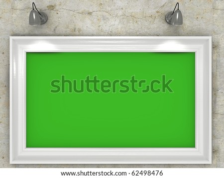 Picture on a wall with chroma key so you can put your own picture or video inside - stock photo