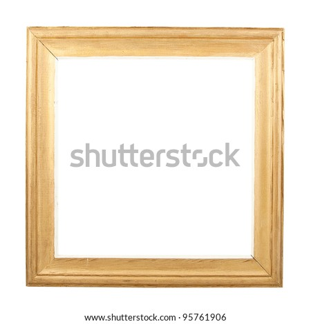Picture or photo frame from pine and painted in golden colors. Isolated on white background - stock photo