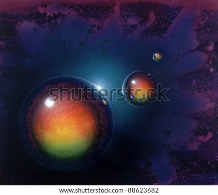 picture painted by me called Agravic, it shows three mirroring balls in colorful spacy ambiance