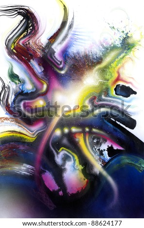 picture painted by me, named Chromatic Splash, it shows swinging multicolored brush strokes and some light effects