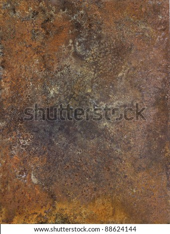 "picture painted by me, named ""Corrosion 1"". It shows a abstract modified corroded and tarnished metallic surface - stock photo"