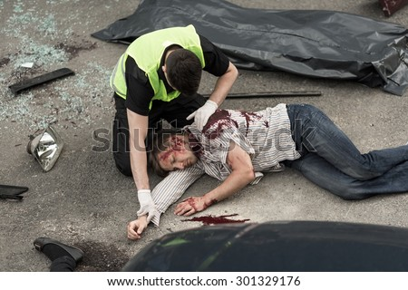 Picture presenting fatal accident on the road - stock photo