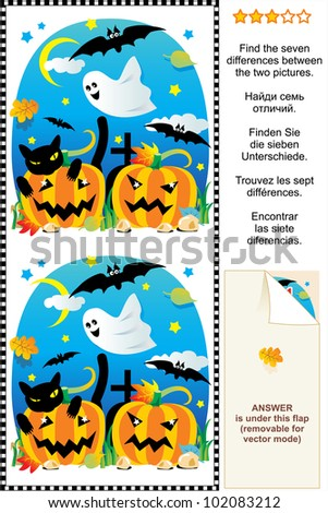 Picture puzzle: Find the seven differences between the two Halloween pictures with pumpkins, bats, ghost, black cat, etc. ( for vector EPS see image 102083215 )  - stock photo