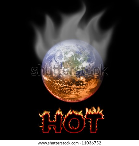 Picture shows a concept of warming earth being boiled and heat coming out from it.