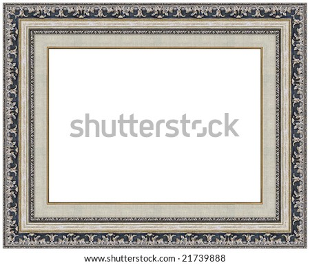 Picture silver frame with a decorative pattern - stock photo
