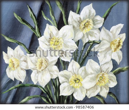 Picture, still-life, flowers narcissus bouquet. Hand draw oil paints on a canvas - stock photo