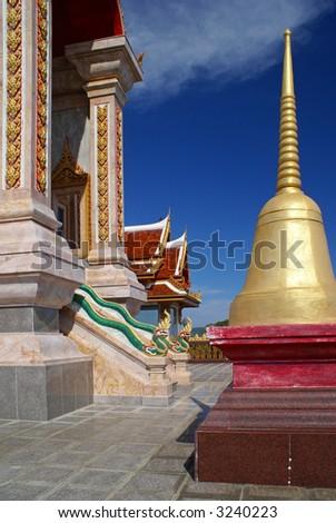 Picture taken in Phuket, Thailand. Wat Shalong. - stock photo