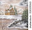 Picture, winter landscape, house in forest. Drawing distemper on a birch bark - stock photo