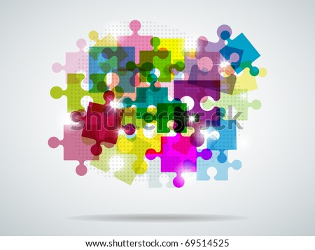 Picture with colorful puzzle and bright light - stock photo